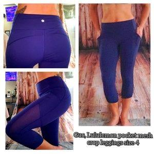 EUC, Lululemon mesh crop pocket leggings